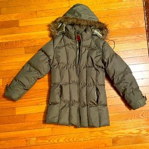 Kenpo Olive Green Puffer Hooded Coat